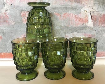 4 Vintage Green Indiana Glass Cubed Glasses // 1960-1970's