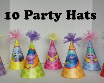 Printable Trolls Party Hats INSTANT DOWNLOAD