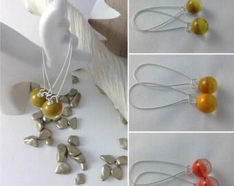 Earrings sleepers long color versus coral mustard olive transparent