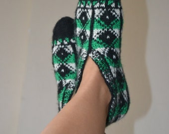 Traditional handmade knitted slippers, winter slippers, Patik slippers