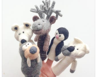 Finger poppets Animals of Greenland (knitted, felted wool) wool / felted wool and knitting Greenland animals finger puppets