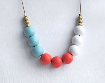 Chunky Geometric Necklace, Boho necklace, Statement Necklace, Bohemian Jewelry, Handmade necklace, Wooden necklace Sky Blue and Tomato red
