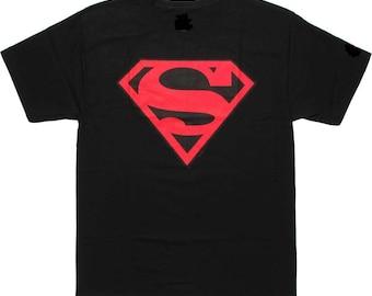 Superman Black Shirt Red Logo Super Hero DC Comics NovelTee Shirt