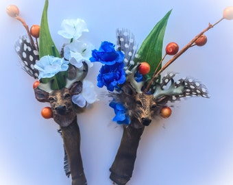 Buck Boutonnieres (DIY or Assembled) w/ Feathers, Mini Deer Mount Antlers, Silk Flowers for Rustic Outdoorsy Prom Camo Wedding Groom Country