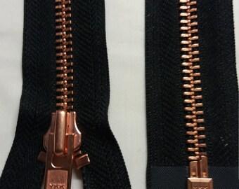 Zip. copper teeth on black tape. Open end. No 8 heavy duty zipper 45 cm long