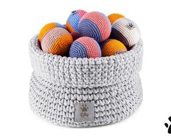 Premium Dog Toys Basket - Silver - 100% handmade