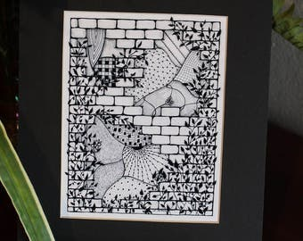 MADE TO ORDER - Black Matted - Zentangle Art Print from Original Drawing (pictured is an 8x10, Black)