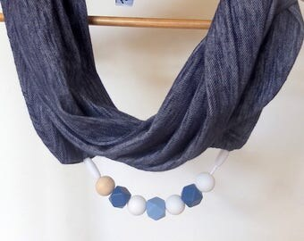 Infinity scarf and necklace in one for mums,teething necklace,Cross linen jersey, Silicone BPA Free-Unfinished natural Wooden beads