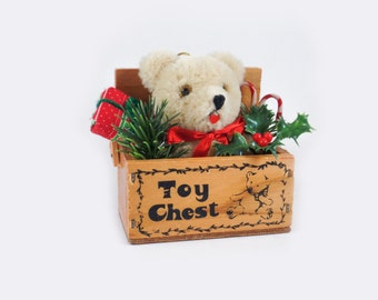 Vintage Christmas ornament peaking teddy bear in a toy chest, vintage bear 1984, vintage Christmas decor, toy bear,vintage wooden toy chest
