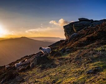 Bamford Edge at sunset, Peak District National Park, UK