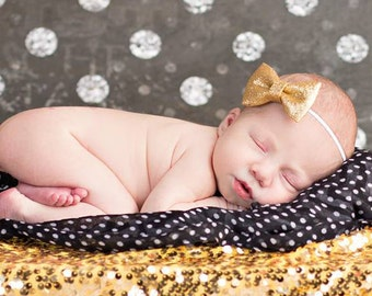 Baby Bow Headbands for Baby Girls | Newborn Photo Shoot Prop | Birthday Headband | Gold Silver Pink Glitter Bows