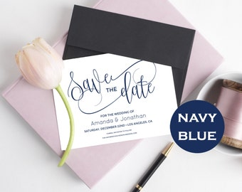 Navy Save The Date Wedding - Simple Save the date PDF Instant Download - Navy Bllue - Save the date Downloadable wedding #WDH0272