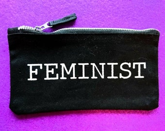 Holographic glitter feminist on black zippy pouch for pencils or makeup