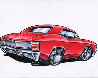 Red Chevelle - Original Drawing - Matted & Bagged
