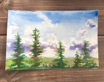 Watercolor painting landscape, living room decor, pine tree art, watercolor trees, landscape wall art, summer landscape