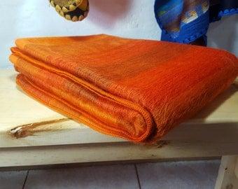 Throw Blanket Alpaca Blanket Orange made in Ecuador