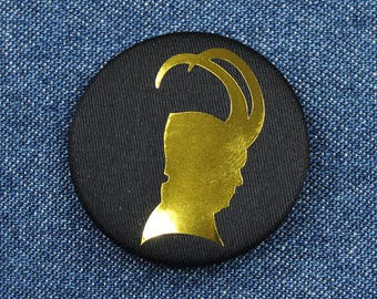 "1.5"" Gold Loki Button – Gold Loki Pin – Golden Loki Pin – Golden Loki Button – Golden Loki Silhouette Pin – Gold Loki Silhouette Button"
