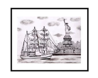 Statue of Liberty Art Print, new york city drawing, city drawing, manhattan drawing, living room decoration, city painting, manhattan paint