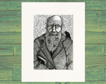 Darwin with Finches | Print from Drawing | Black and White Wall Art
