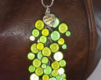 Green miracle bead key chain or bag charm,gift, mother, sister, daughter, friend, present