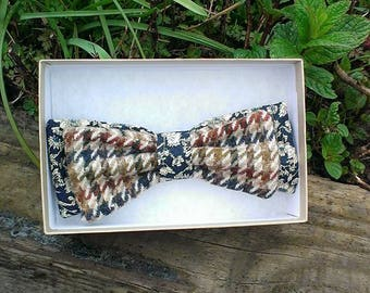 Brown houndstooth tweed bow tie, tweed bow tie, adjustable, men,s gift, wedding, fathers day.