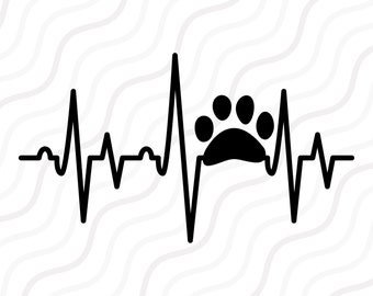 Paw Heartbeat SVG, Animal Paw SVG, Paw SVG Cut table Design,svg,dxf,png Use With Silhouette Studio & Cricut_Instant Download