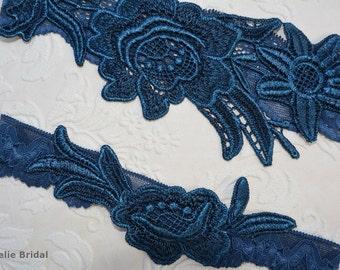 Unique Bridal Garter, Teal Blue Garter, Lace Bridal Garter, Bridal Garters, Handmade Garter, Something Blue, Toss Garter, Blue Garter Lace