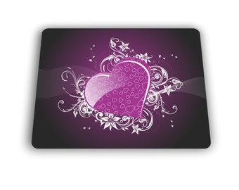 Purple Hearts Computer Mouse Pad For Home and Office Size Mousepad