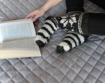 BLACK with WHITE STRIPES socks, handmade socks, folk socks, knitted socks, sheep wool socks