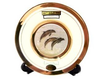 The Art of Chokin Dolphin Plate