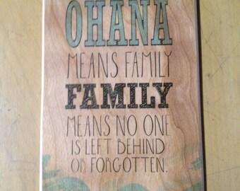 Ohana Wood Sign Made with Aloha In Hawaii