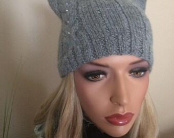 Winter Alpaca Cat Hat, winter hat, knit cat hat, pussy hat, knit cat ear hat, kitty hat, pussycat hat, pussy cat, pussyhat, cat