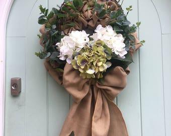 Hessian and Hydrangea Spring/Summer door wreath