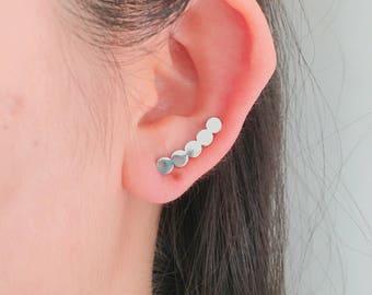 Circular earrings, round earrings, circle earrings, geometrical earrings, circular ear climbers, geometric ear climbers, circle ear climbers