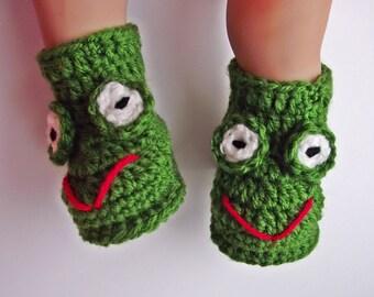 Crochet Baby Frog Booties, Crochet Baby Booties Green, Crochet Baby Booties, Baby Booties, Baby Boots, Crochet Baby Boots
