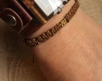 Makramee-Armband Freundschaftsarmband braun gold Perlen, Macramee-Bracelet friendship bracelet braun gold beads