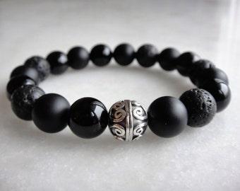 Mens bracelet made with sterling silver black onyx and lava stone beads / Lava stone bracelet onyx bracelet mens black stone beaded bracelet