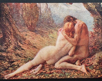 "Mint ""Lost Paradise"" Lovers Embrace, G. Lavergne Artist Postcard, Art moderne #707, STUNNINGLY Modest yet Erotic Painting"