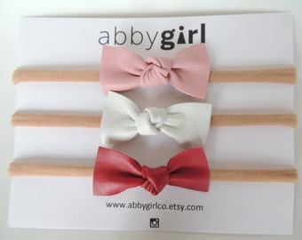 Bella Bow Baby Headband | Set of 3 | leather baby bow | nylon headband | baby headband | simple headband | trendy headband