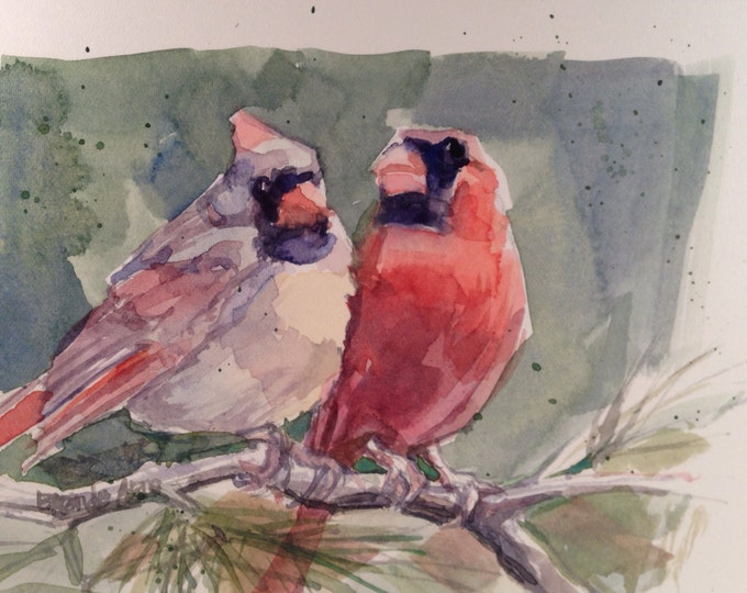 Cardinal Pair Original Watercolor, 5 x 7 inches, Male and Female Cardinals, Brande Arno Original Painting.