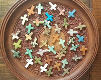 Lot of Assorted Genuine Stone Cross Pendants