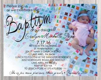 Baptism/Birthday Party Invite, Custom Baptism/Birthday Invite with Photo