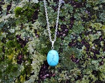 Turquoise necklace, simple drop pendant, silver and turquoise necklace, turquoise jewelry