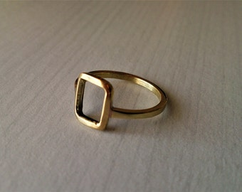 rectangle ring , geometric ring, brass ring, dainty ring,  minimalist ring, gift for her, dainty ring, gift for women
