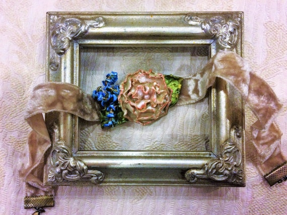Ivory Rose Crushed Velvet Choker, Botanical Necklace