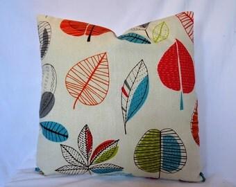 Orange Red Blue Maple Leaves on Cushion