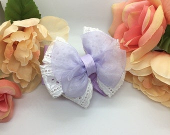 Violet Organza and White Eyelet Lace Bow