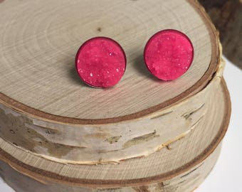 Druzy Earrings - Hot Pink