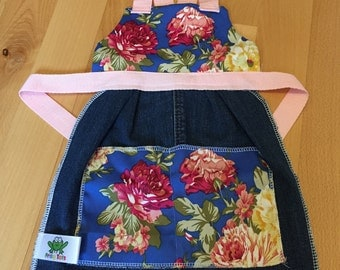Children's apron, Vintage inspired Apron, Floral Apron, Denim Apron, Toddler Apron.