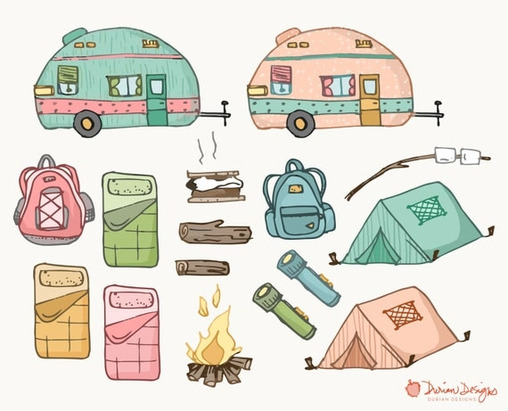Camping Clipart Commercial Use Trailer Motorhome Fire Smores Tent Flashlight Sleeping Bags Backpacks Nature Outdoor Instant Download From DurianDesigns On